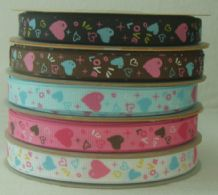 6mm COLOURFUL HEARTS GROSGRAIN RIBBONS